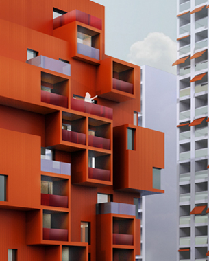C'est par un travail de couleur que nous avons souhaité donner son identité au bâtiment. A la recherche d'une sobriété de langage et de matériaux, nous proposons un projet bichromatique.