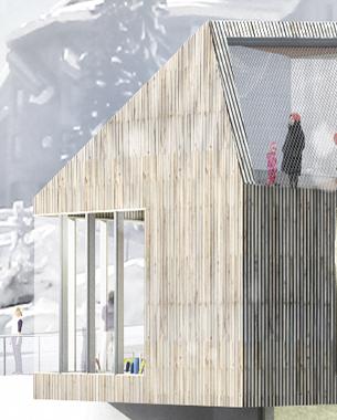 Au cœur du domaine des portes du Soleil à 1800m d'altitude. Une masse en bois, creusée, percée, pliée, plissée déformée, s'intègre à l'environnement.